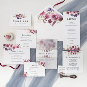 pink and purple floral wedding invitation with vellum paper and belly band SWPI005