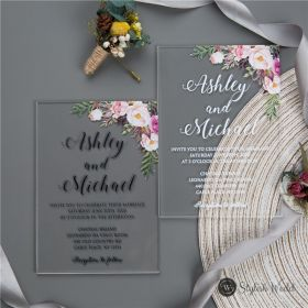 pink floral acrylic clear wedding invitations SWAL003