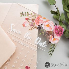 pink floral acrylic wedding save the date cards SWTD013