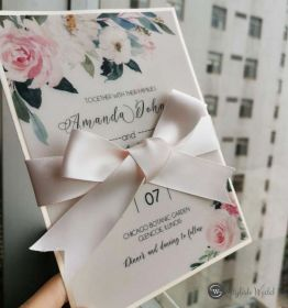pretty chic blush pink floral wedding invitations with champagne backer and lovely ribbon SWPI110