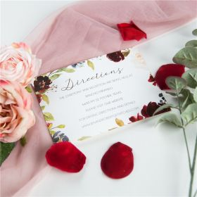 radiant burgundy and navy floral wedding direction cards SWPI046f
