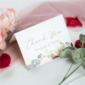 radiant burgundy and navy floral wedding thank you cards SWPI046t