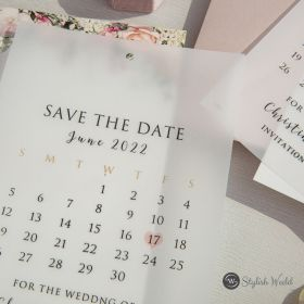 romantic blush floral and calendar design save the date cards SWTD014