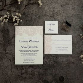 romantic blush pink lace inspired thermography wedding invitations SWUV025