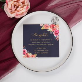 romantic navy blue and floral coral reception card SWPI014d