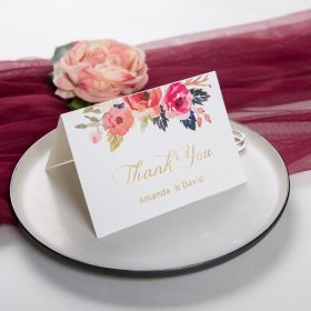 romantic navy blue and floral coral thank you card SWPI014t