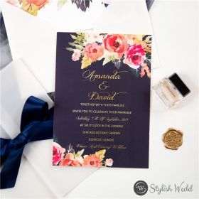 romantic navy blue and floral coral wedding invitation with vellum paper pocket SWPI092