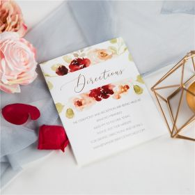 romantic shades of burgundy floral wedding direction cards SWPI052f