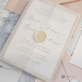 romantic vellum wedding invitations with calligraphy and floral wax seal SWPI130