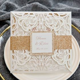 romantic ivory laser cut wedding invites with backer and belly band SWWS116
