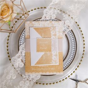 rustic burlap lace wedding invitations with vellum paper belly band and tag SWPI028