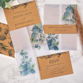 rustic eucalyptus greenery wedding invitation with matched vellum jacket and belly band SWPI100