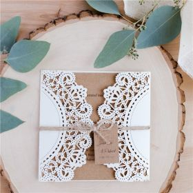 rustic ivory laser cut invitations with craft inside cards and tags SWWS082