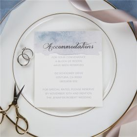 shades of dusty blue watercolor silver foil wedding accommodation cards SWFI001a