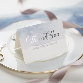shades of dusty blue watercolor silver foil wedding thank you cards SWFI001t