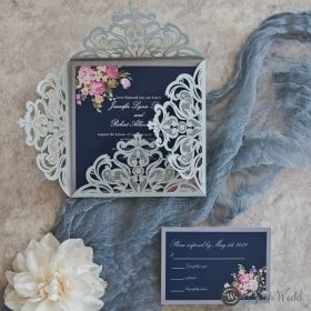 silver laser cut wrap with pink flowers on navy blue background inner invitation SWWS087
