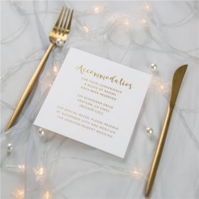 simple gold foil wedding accommodation cards SWFI004a