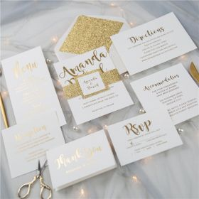 simple gold foil wedding invitations with glittery belly band and tag SWFI004