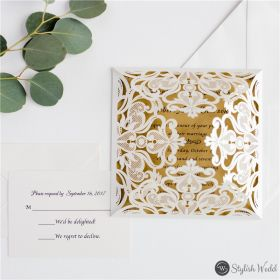 simple ivory laser cut wedding invitation with craft paper inner invitation SWWS103