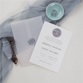 simple modern grey wedding invitations with vellum paper pocket and wax seal SWPI042