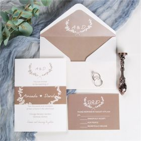 simple taupe monogram wedding invitations with belly band SWPI023