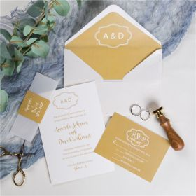 simple yellow monogram wedding invitations with vellum paper belly band and tags SWPI025