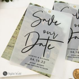 simple and modern save the date with script design and custom photo SWTD021