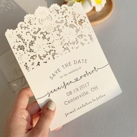 vintage lace inspired wedding save the date card SWTD010