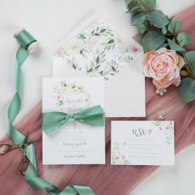 spring light blush floral wedding invitation with belly band and sage ribbon SWPI035