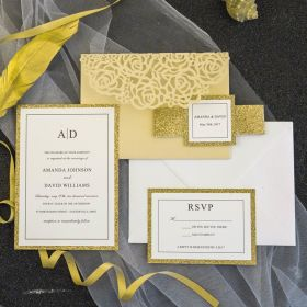 luxury pale gold glitter rose laser cut pocket wedding invitations with glitter belly band and tag SWWS069