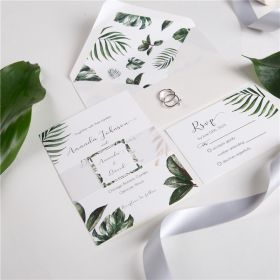 tropical hawaii theme wedding Invite with belly band and tag SWPI029