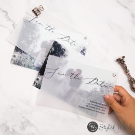 unique modern save the date cards with photo vellum overlay SWTD006