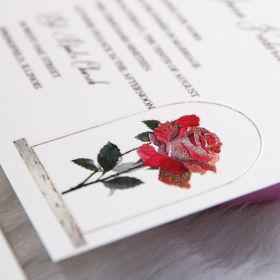 but a rose - vintage beauty and the beast inspired UV printing wedding invitation SWUV009