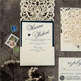exquisite laser cut navy blue and white pocket wedding Invitations SWWS108