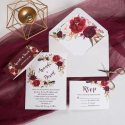 boho burgundy floral and feather wedding invitation with belly band SWPI012