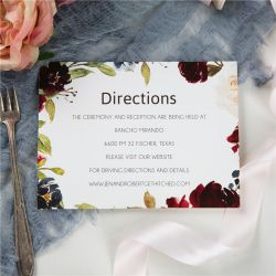 burgundy and blush floral wedding direction cards SWPI059f