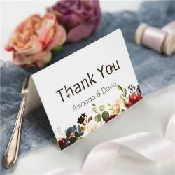 burgundy and blush floral wedding thank you cards SWPI059t