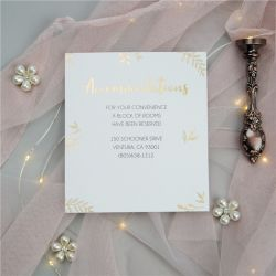 chic gold embossed foil wedding accommodation card SWFI006a