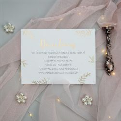 chic gold embossed foil wedding direction card SWFI006f