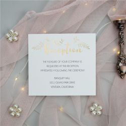 chic gold embossed foil wedding reception card SWFI006d