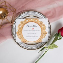 classic beauty and the beast inspired and red rose wedding direction cards SWPI015F