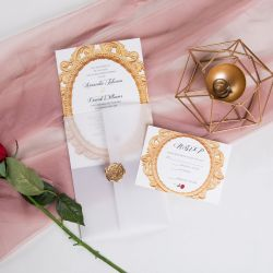 classic beauty and the beast inspired and red rose wedding invitation with vellum paper pocket and wax seal SWPI015