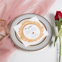 classic beauty and the beast inspired and red rose wedding reception cards SWPI015d