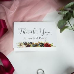 classic marsala and navy flower wedding thank you cards SWPI050t