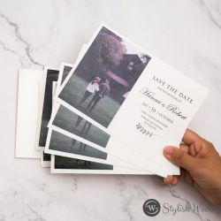 creative save the date cards with modern photo SWTD003