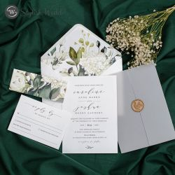 elegant wedding invitations with unique florals belly band and leaf wax seal SWPI122