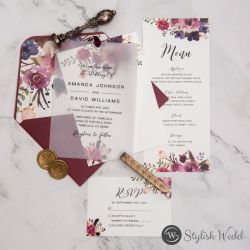 fall burgundy and blush floral wedding invitation suite with vellum overlay SWPI115