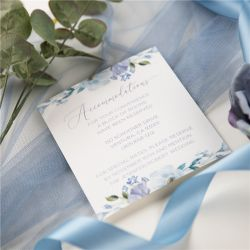 french blue and periwinkle watercolor flower wedding accommodation cards SWPI037a
