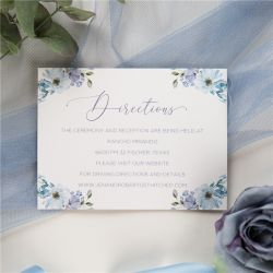 french blue and periwinkle watercolor flower wedding direction cards SWPI037f