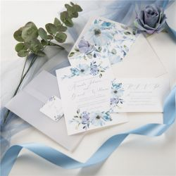 french blue and periwinkle watercolor flower wedding invitations with vellum paper pockets SWPI037